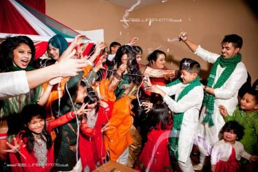 Asian - Bengali -  fun wedding with with silly strings